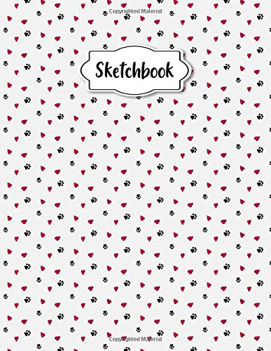 Sketchbook: Hearts And Dog Footprint Blank Notebook Journal | Sketching, Drawing and Doodling