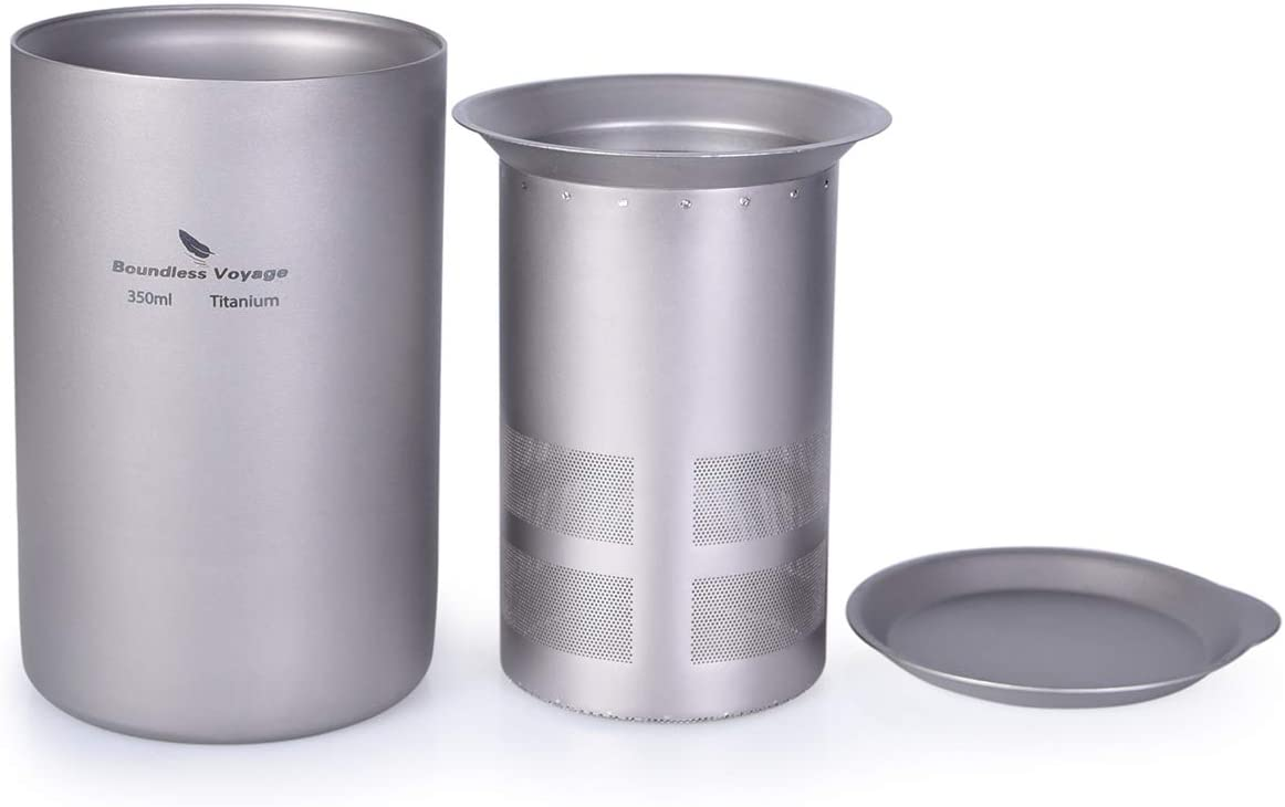 iBasingo 350ml Free shipping Titanium Double Layer Tea Filter with Cup Sale price Cover O