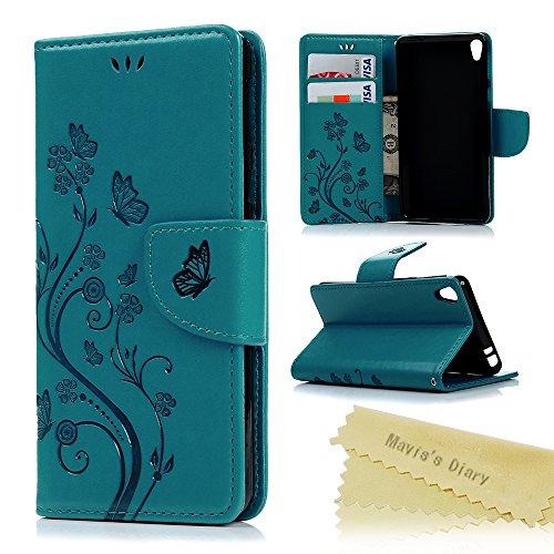 Sony Xperia E5 Hülle Tasche PU Lederhülle Flipcase Handy-Kasten Schutzhülle Magnetverschluss Handyhülle Standfunktion Handycover Schmetterling Blumen Blau