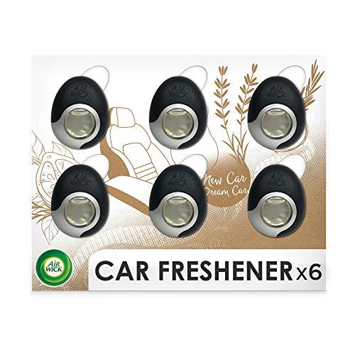 Air Wick Auto-Lufterfrischer – Duftspender für das Auto gegen unangenehmen Geruch – Duft: Holz und Leder, 6er Megapack