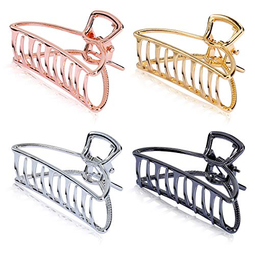 Pinzas de Pelo de Metálicas Clips de Pelo de Agarre de Metal Antideslizantes para Mujeres Niñas Hebillas de Pelo para Sujetar Pelo 4 Piezas (4 Colores)