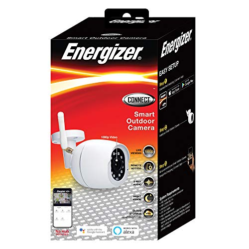 Energizer Connect Smart 1080p HD Certified Weatherproof Outdoor Camera with Remote Access, Motion Alerts, 2 Way Audio and Night Vision   Compatible with Alexa and Google Assistant