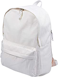 DIY Canvas Backpack Students Large Casual Daypack Satchel (White)