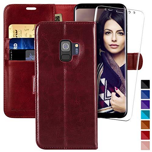MONASAY Galaxy S9 Wallet Case, 5.8-inch, [Included Screen Protector] Flip...