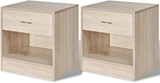 Bedside Cabinets With Drawer (2 Pcs) - Oak Colour