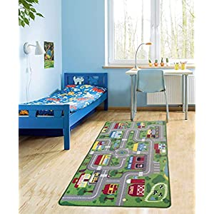 City Street Map Kids' Rug with Roads Kids Rug Play mat with School Hospital Station Bank Hotel Book Store Government Workshop Farm for Boy Girl Nursery Bedroom Playroom Classroom