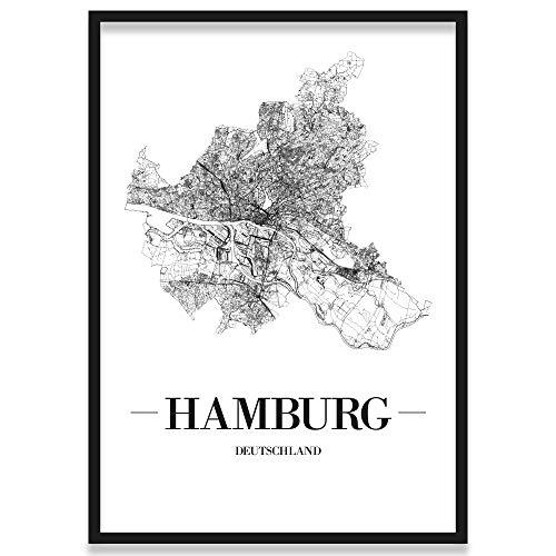 JUNIWORDS Stadtposter, Hamburg, Wähle eine Größe, 21 x 30 cm, Poster mit Rahmen, Schrift A, Weiß