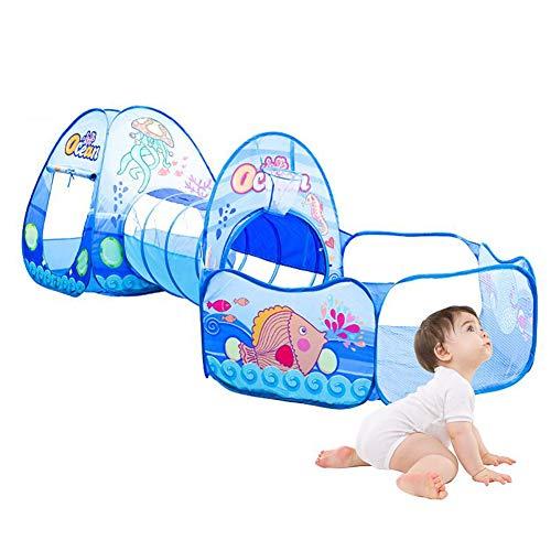 Tienda de campaña para niños de 3 piezas, túnel de rastreo, tienda de campaña portátil para niños, piscina de bolas, océano, piscina para niños, piscina para bebés, casa para niños, para niñas y niños