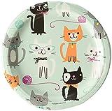 creative convertting- piatto 18 cm gatti-purrfect party, multicolore, 8c328595