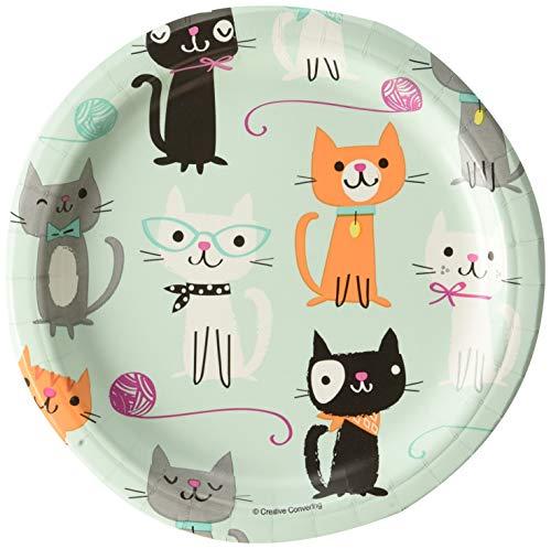 Creative Convertting - Teller 18 cm Katzen-Purrfect Party, mehrfarbig, 8C328595