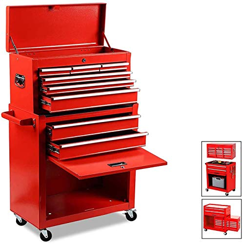 8-Drawer Rolling Tool Chest High Tool Chest and Tool Storage Cabinet, Removable Portable Box with Lock Tool Chest for Garage and Warehouse Tool Chest with 4 Wheels (Red)