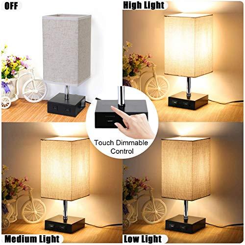 Lightess Lámpara de Mesa Táctil Lámpara Mesita de Noche LED USB Dual 3 niveles de Luminosidad Lámpara Escritorio Vintage para Dormitorio, Habitación de Bebé, Incluye Bombilla Ajustable