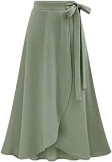 Womens Slit Midi Maxi Skirt Solid High Waist Flowy A-line Flared Skater Skirt