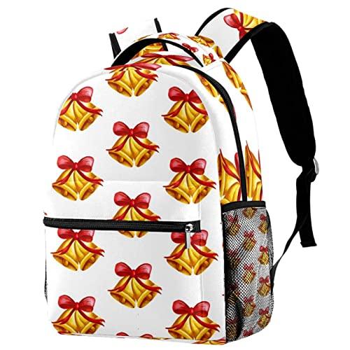 Mochila roja con patrón de campana de muñeco de nieve de Navidad para estudiantes de escuela, mochila de viaje duradera para mujeres y hombres, Multicolor 04,
