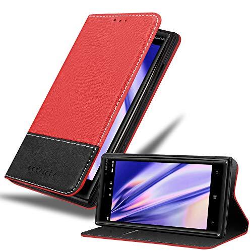 Cadorabo Custodia Libro per Nokia Lumia 830 in ROSSO NERO - con Vani di Carte, Funzione Stand e Chiusura Magnetica - Portafoglio Cover Case Wallet Book Etui Protezione
