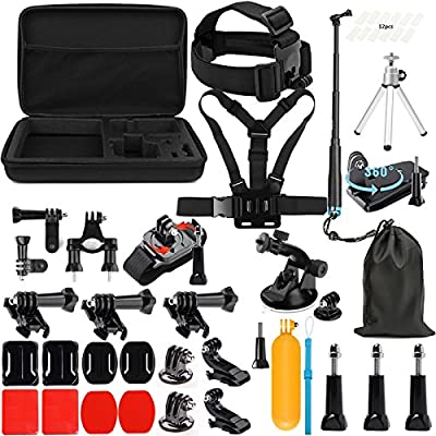 Lighten Accessories Kit with Waterproof Stick for GoPro Hero 7 Black Silver White/6/Hero 5 4 3+ 3 2 1/Hero(2018)/Fusion AKASO EK7000 APEMAN Campark FITFORT 4K WiFi Action Camera by Lighten