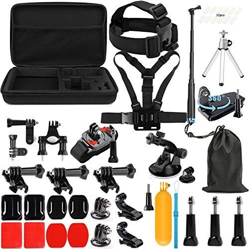 Lighten Accessories Kit with Waterproof Stick for GoPro Hero 7 Black Silver White/6/Hero 5 4 3+ 3 2 1/Hero(2018)/Fusion AKASO EK7000 APEMAN Campark FITFORT 4K WiFi Action Camera
