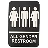 ADA All Gender Adhesive Restroom Toilet Sign with Braille for Business Restaurant, 6' x 9'