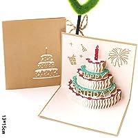 誕生日パーティーステレオグリーティングカード ピエロケーキグリーティングカード 創造的な3 D手作りの紙彫刻感謝祭カード ギフトグリーティングカード 1個/5個/10個/20個 AB467 (AB452B,10個)