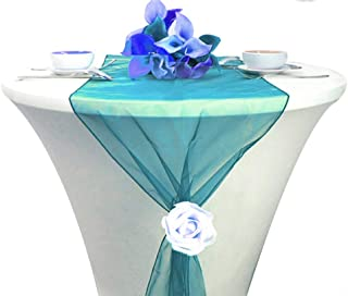 mds Pack of 1 Wedding 12 x 108 inch Organza Table Runners for Wedding Banquet Decor Dining Room Table Runner- Light Teal