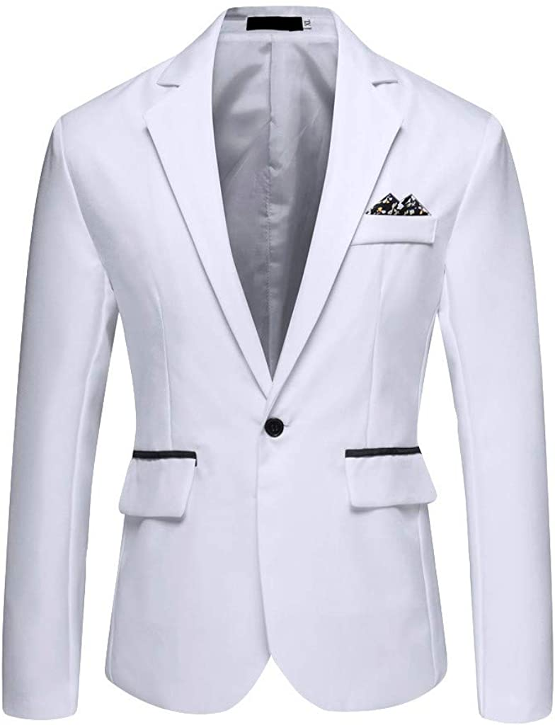 Men's Stylish Blazer Casual Solid Color Business Wedding Party Outwear Coat Suit Tops Classic Fit Sport Jacket