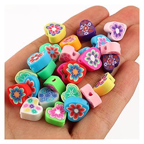 Zz0 50 unids 10mm de impresión de frutas perlas Polímero arcilla perlas Polímero multicolor Arcilla espaciador de arcilla para joyería haciendo pulseras de bricolaje Tl520 ( Color : Love Heart )