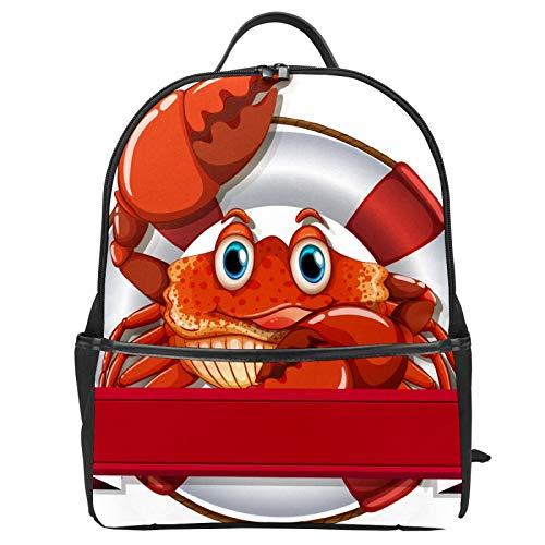 Süßer lustiger roter Ozean-Krabben-Rettungsring Schulranzen Rucksack aus Segeltuch mit großer Kapazität Schulranzen Casual Reise Tagesrucksack für Kinder Mädchen Jungen Kinder Studenten