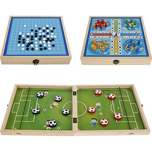 Juego de arandela de freno rápido 3 en 1, juego de mesa plegable de madera, juguete interactivo para adultos y padres y familias