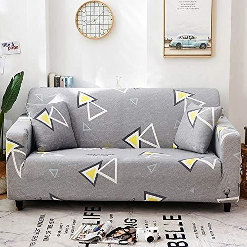 Funda de Sofá Elástica Funda Sofá Gruesa Antideslizante, Cubierta Sofa Muebles con Cuerda de Fijación Antideslizante Protector de Muebles (Triángulo geométrico, Gris, 3 Plazas )