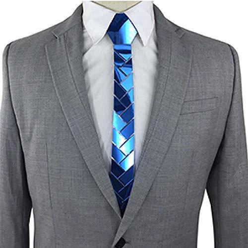 24K Oro Espejo Corbata Delgada Rama de Olivo Geométrico Novio de Boda Corbatas de satén acrílico Accesorio de Moda Corbata de 5 cm 8 Colores-Espejo Azul océano