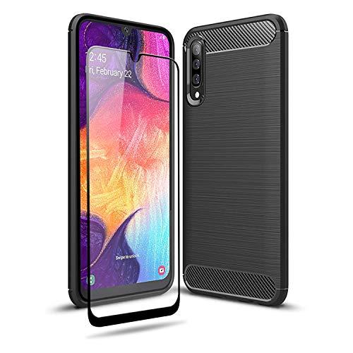 Olixar - Custodia rigida per Samsung Galaxy A50 con proteggi schermo, copertura completa a 360°, in policarbonato rigido, doppio strato, resistente, in vetro temperato antiurto, colore: Nero