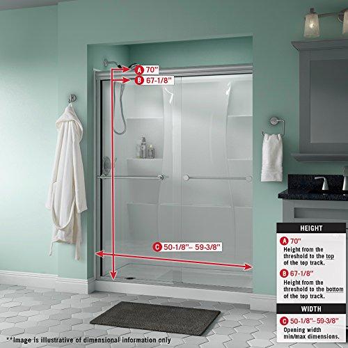 Delta Shower Doors SD3172313 Trinsic Semi-Frameless Traditional Sliding Shower Door 60in.x70in Handle, Nickel Track