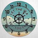 Let the Sea Set You Free - Reloj de pared de madera de 30,5 cm, funciona con pilas, decoración de pared de granja