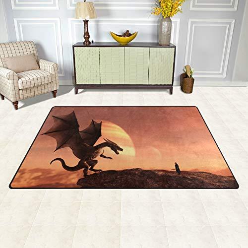 BKEOY Großer Teppich, magische Landschaft, Ritter, Drache, Teppich, Schlafzimmer, Wohnzimmer, Esszimmer, Küche, Innenbereich, Fußmatte, Teppich, 152 x 99 cm