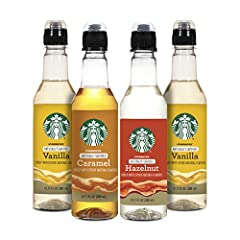 Bring home signature Starbucks café flavor with Starbucks Naturally Flavored syrups and sauces. Elevate your morning coffee Starbucks Naturally Flavored Vanilla Syrup has a sweet and rich flavor, Caramel Syrup has a smooth and buttery flavor, and Haz...