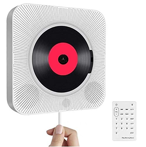 Reproductor de CD montado en la pared, reproductor de CD portátil con Bluetooth, altavoces de hifi incorporado en la pared, boombox de audio para el hogar con control remoto Radio FM USB MP3 MP3 3.5mm