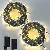2-Pack Extendable Green Wire Christmas String Lights Outdoor/Indoor, 200 LED Christmas Tree Lights with 8 Modes, Plug in Fairy Lights for Xmas Party Wedding Decoration (Warm White)