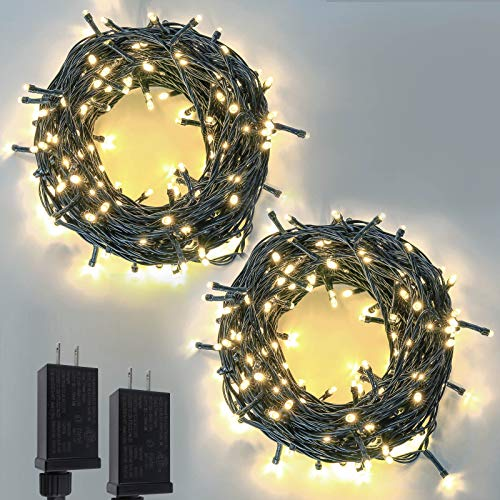 2-Pack Extendable Green Wire Christmas String Lights Outdoor/Indoor, 200 LED Christmas Tree Lights with 8 Modes, Fairy Lights for Xmas Party Wedding St. Patrick 's Day Decoration (Warm White)