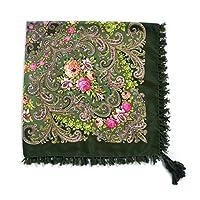 スカーフ 女性の綿の大きな花プリントショールヘッドスカーフレトロフリンジフォーラードバンダナのための90 * 90 * 90センチの国の広場のスカーフ 暖かい (Color : 4)