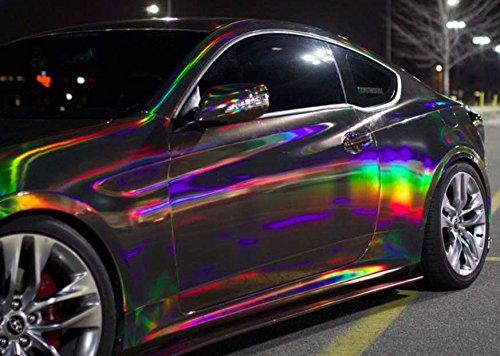 speedwerk-motorwear 3D Holographic Chrom Black Rainbow für Car Wrapping, Spiegelfolie, Effektfolie Farbmuster 10cm x 10cm