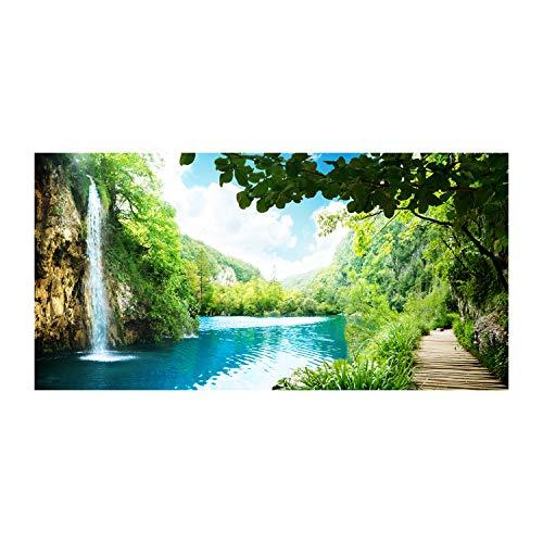 Tulup Glas-Bild Wandbild aus Glas - Wandkunst - Wandbild hinter gehärtetem Sicherheitsglas - Dekorative Wand für Küche & Wohnzimmer 140x70 - Landschaften - Wasserfall im Wald - Grün