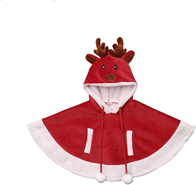 Dcohmch Toddler Girl Christmas Outfit Kids Girl Reindeer Hooded Fleece Cape Cloak Mantle Xmas 3D Deer Warm Coat