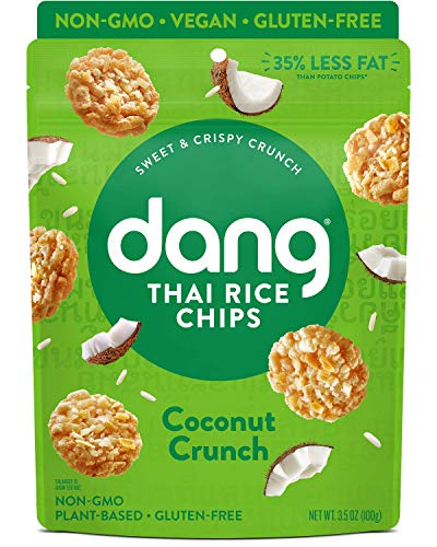 Dang Sticky Rice Chips | Coconut Crunch | 12 Pack | Vegan, Gluten Free, Non GMO Rice Crisps, Healthy Snacks Made with Whole Foods | 3.5 Oz Bags