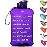 HydroMATE Half Gallon 64 oz Motivational Water Bottle with Time Marker Large BPA Free Jug with...