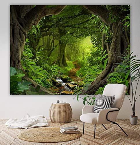 Tapiz de bosque para colgar en la pared, arte de la pared del paisaje de la naturaleza, tapiz de tela de fondo para la decoración del hogar