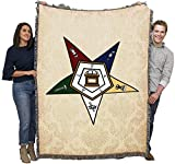 Order of The Eastern Star - OES Masonic - Cotton Woven Blanket Throw - Made in The USA (72x54)
