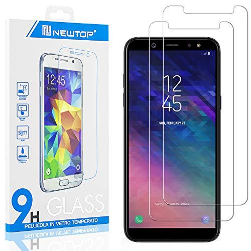 N NEWTOP [2 Pezzi] Pellicola GLASS FILM Compatibile per Samsung Galaxy A6 Plus 2018, Fina 0.3mm Durezza 9H in Vetro Temperato Proteggi Schermo Display Protettiva Anti Urto Graffio Protezione