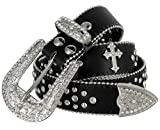 Women Rhinestone Belt Fashion Western Cowgirl Bling Studded Design Cross Concho Leather Belt 1-1/2'(38mm) wide (Black, 32'' S)