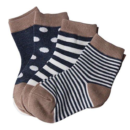 Unbekannt Babysocken, Auxma 4 Paar Socken,Baby Baumwolle Socken Kindersocken, für 0-6 6-12 12-24 Monat (M/12-24 M)