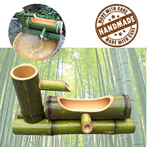 WishY Bambusbrunnen für Gärten, Bambuswassersprinkler mit Wasserpumpe, Gartendekorationsskulptur, Wasserfalldekorationsstatue,11.81in